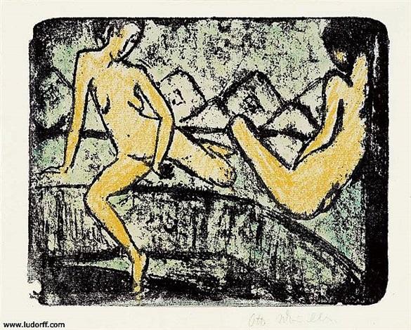 zwei auf dem sofa sitzende mädchen (two female nudes sitting on a couch) by otto mueller