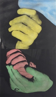 hand and chin (with entwined hands) by john baldessari