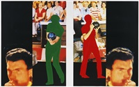 two bowlers (with questioning person) by john baldessari
