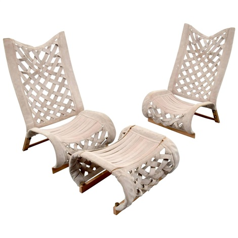 Pair of Lounge Chairs and Ottoman by Marzio Cecchi on artnet