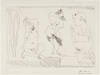scène de théatre: danseuse et deux viellards by pablo picasso