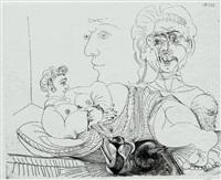 vieux modèle pour jeune odalisque. le double regard du peintre (from la série 156) by pablo picasso