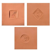 3 ceramic tiles: square with female dancer, lozenge with bearded man, circle with face by pablo picasso