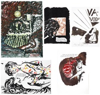 untitled (everywhere i sat) (+ 4 works; 5 works) by raymond pettibon