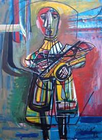 artist with palette by nahum tschacbasov