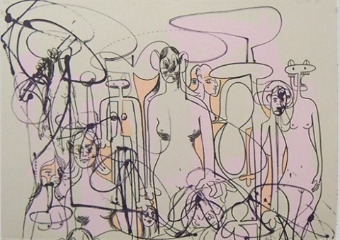 Line Art Figures : Line of figures by george condo on artnet
