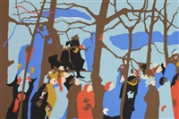 the swearing in (from inaugural impressions) by jacob lawrence