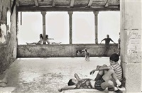 simiane-la-rotonde, france (children on window ledges) by henri cartier-bresson