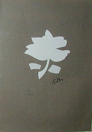white leaf form - white flower by georges braque