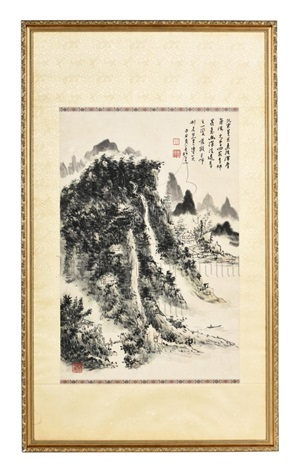 Huang Binhong 1864 - 1955 HUANG BINHONG FRAMED INK ON PAPER PAINTING ...