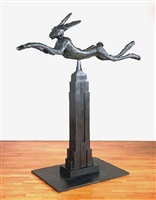 six foot leaping hare on empire state by barry flanagan