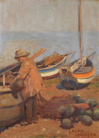 beach scene at low tide, fisherman beside whitby cobbles (runswick bay?) by laura s johnson
