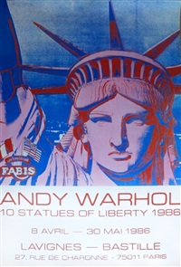10 statues of liberty poster by andy warhol