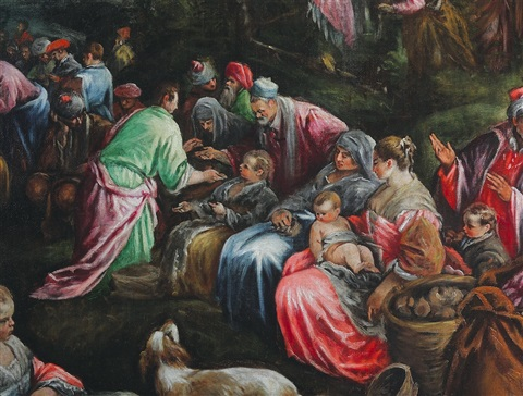 The miracle of the loaves and the fishes by jacopo dal for Miracle of the loaves and fishes