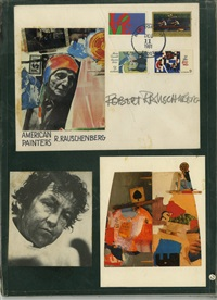 signed postcard and photo collage by robert rauschenberg