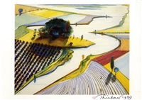 signed waterland postcard by wayne thiebaud