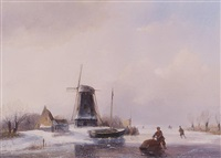 <i>skaters on a frozen waterway</i> by jan jacob spohler