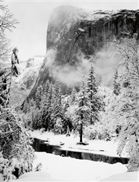 el capitan, yosemite valley, winter by ansel adams