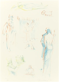bistro sketches (from the physiology of taste series) by wayne thiebaud