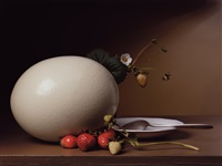 early american, strawberries and ostrich egg by sharon core