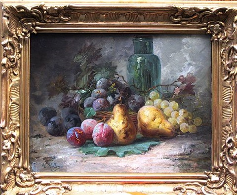 fruit still life with bottle by antoine vollon