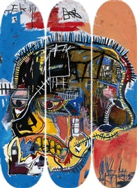 skull skateboard triptych (set of 3) by jean-michel basquiat