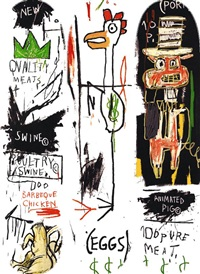 quality meats skateboard triptych (set of 3) by jean-michel basquiat