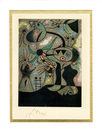 signed sheet with offset lithograph by joan miró