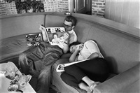 james dean and elizabeth taylor take a break from filming giant by richard crump miller