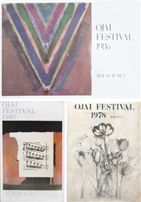 signed ojai festival posters by jim dine, kenneth noland, and robert motherwell (set of 3) by various artists