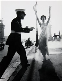 simone and marines, pont alexandre iii, paris by william klein
