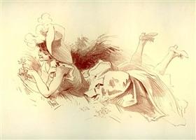 femme dans l'herbe 1 (selling as part of set) by jules chéret
