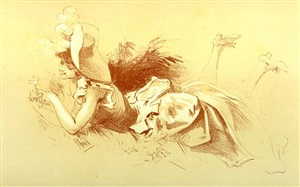 femme dans l'herbe 2 (selling as part of set) by jules chéret