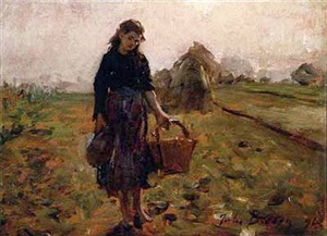 fillette portent une cruche et un panier au retourdes champs by jules breton
