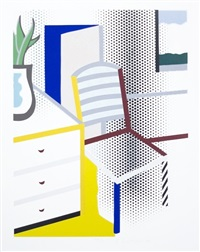 interior with chair (from leo castelli 90th birthday portfolio) by roy lichtenstein