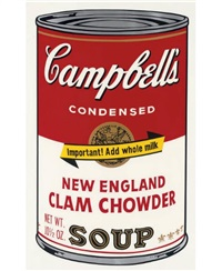 new england clam chowder (from campbell's soup ii) by andy warhol