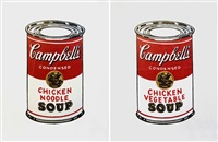 andy warhol campbell's chicken and vegetable soup (+andy warhol campbell's chicken noodle soup; 2 works) by richard pettibone