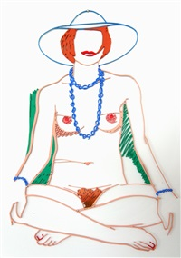 monica cross legged with beads by tom wesselmann