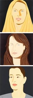three portraits: sara, sophie & vivien (3 works) by alex katz