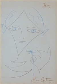head, hand and flower by jean cocteau