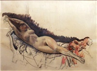 nude reclining on her back by leon kroll