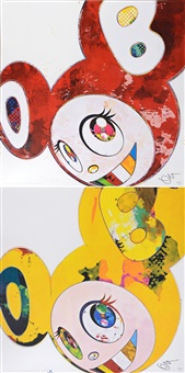 and then x6 (vermilion the superflat method) (+ and then x6 yellow universe; 2 works) by takashi murakami