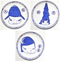 life is only one (set of 3 plates) by yoshitomo nara
