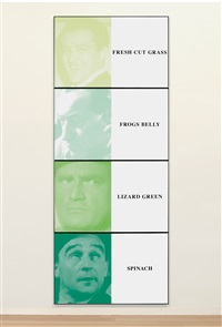 prima facie (fifth state): fresh cut grass / frogs belly / lizard green / spinach (in 4 parts) by john baldessari