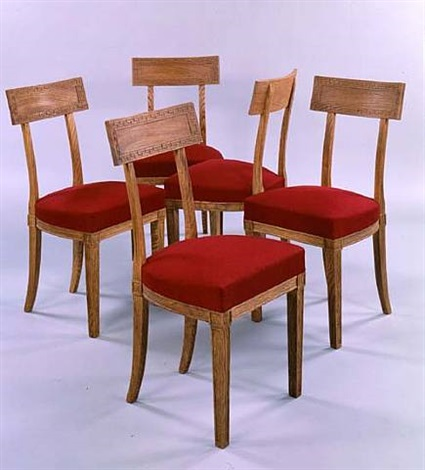 sandblasted oak dining room set - chairs <i>circa 1936</i> by jean michel frank and adolphe chanaux