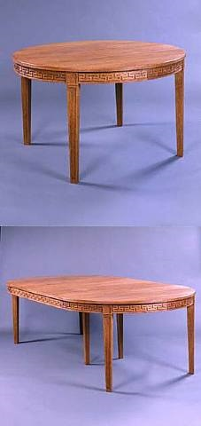 sandblasted oak dining room set <i>circa 1936</i> by jean michel frank and adolphe chanaux