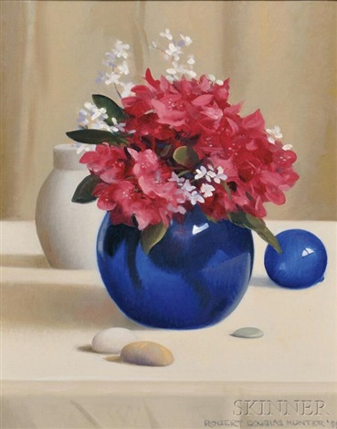 Still Life With Flowers In A Cobalt Blue Vase By Robert Douglas