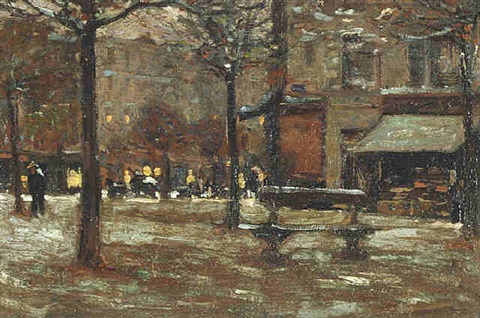 untitiled, paris evening just off the seine by ernest lawson