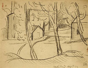 oaks pond and two drawings of bloomfield lock (selling as part of set) by oscar florianus bluemner