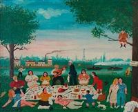 dejeuner sur l'herbe au bord de la seine a boulogne-billancourd a la porte de paris by hector trotin